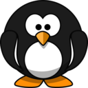 Cute Round Cartoon Penguin Flat Colors