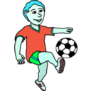 download Soccer Playing Boy Coloured clipart image with 135 hue color