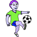 download Soccer Playing Boy Coloured clipart image with 225 hue color
