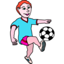 download Soccer Playing Boy Coloured clipart image with 315 hue color