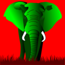 Elephant Green On Red