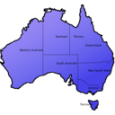 download Australia Map clipart image with 225 hue color