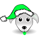 download Funny Dog Face Grey Cartoon With Santa Claus Hat clipart image with 135 hue color
