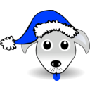 download Funny Dog Face Grey Cartoon With Santa Claus Hat clipart image with 225 hue color