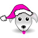 download Funny Dog Face Grey Cartoon With Santa Claus Hat clipart image with 315 hue color