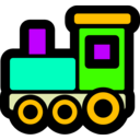download Toy Train Icon clipart image with 45 hue color
