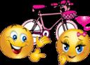 Valentine Pink Bicycle Smiley Emoticon