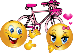 Valentine Pink Bicycle Smiley Emoticon