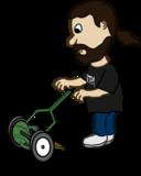 Comic Characters Guy Pushing Reel Mower