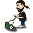 Comic Characters Guy Pushing Reel Mower