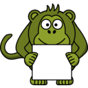 download Sign Holding Monkey clipart image with 45 hue color