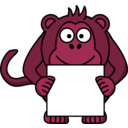 download Sign Holding Monkey clipart image with 315 hue color