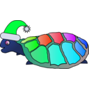 download Funny Turtle With Santa Hat clipart image with 135 hue color