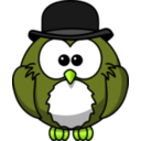 download Owl With Derby clipart image with 45 hue color
