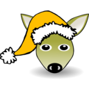 download Funny Fawn Face Brown Cartoon With Santa Claus Hat clipart image with 45 hue color