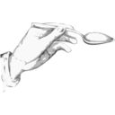 download Hand Holding A Spoon clipart image with 225 hue color