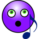 download Singing Smiley Face clipart image with 225 hue color