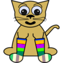 download Cartoon Cat In Rainbow Socks clipart image with 45 hue color