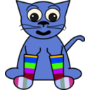 download Cartoon Cat In Rainbow Socks clipart image with 225 hue color