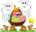 Funny Lambs Bunnies And Chick With Easter Eggs In A Basket