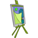 download Easel With Kids Painting clipart image with 45 hue color