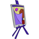 download Easel With Kids Painting clipart image with 225 hue color