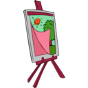 download Easel With Kids Painting clipart image with 315 hue color