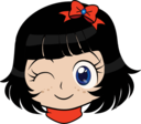 Winky Girl Manga Smiley Emoticon