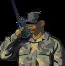 Soldier With Walkie Talkie Radio
