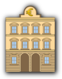 Bank Building With Euro Sign