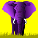 Elephant Purple On Yellow