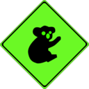 download Warning Koalas Ahead clipart image with 45 hue color