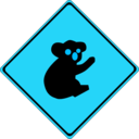 download Warning Koalas Ahead clipart image with 135 hue color