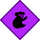 download Warning Koalas Ahead clipart image with 225 hue color