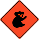 download Warning Koalas Ahead clipart image with 315 hue color
