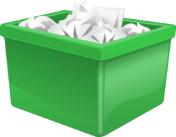 Green Plastic Box Filled With Paper