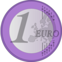 download 1 Euro clipart image with 225 hue color