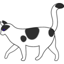 download White Cat Walking clipart image with 135 hue color