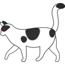 download White Cat Walking clipart image with 225 hue color