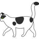 download White Cat Walking clipart image with 315 hue color