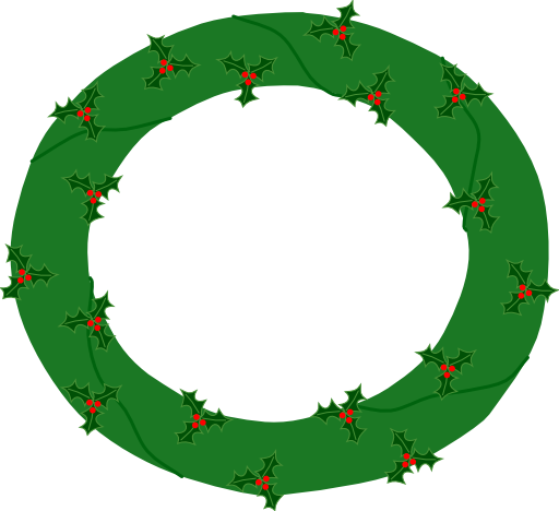 Wreath Of Evergreen With Red Berries 01