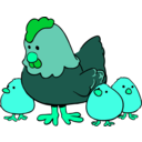 download Hen And Chicks Cartoon Style clipart image with 135 hue color