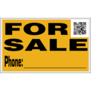 download For Sale Sign With Qr Code clipart image with 45 hue color