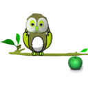download Owl On Branch clipart image with 45 hue color
