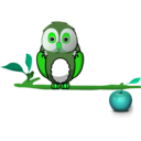 download Owl On Branch clipart image with 90 hue color