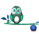 download Owl On Branch clipart image with 135 hue color