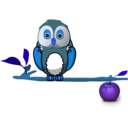 download Owl On Branch clipart image with 180 hue color