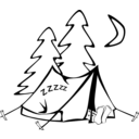 download Sleeping In A Tent clipart image with 315 hue color