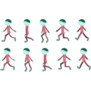 download Walk Cycle Boy clipart image with 135 hue color