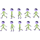 download Walk Cycle Boy clipart image with 225 hue color